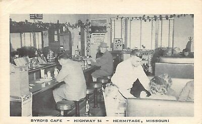 HERMITAGE Missouri US USA Postcard Byrd's Cafe restaurant interior 1954