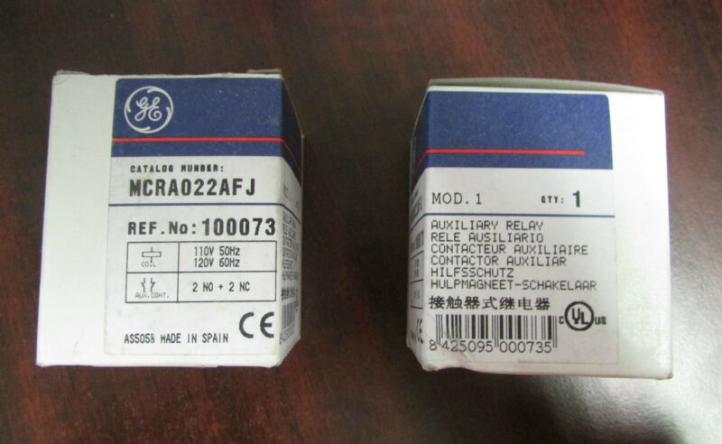 GENERAL ELECTRIC GE Auxiliary Relay  MCRA022AFJ 110/120V