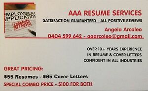 NEED A RESUME - CALL AAA RESUMES NOW Craigieburn Hume Area Preview