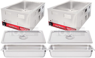 2 Pack Full Size Electric With 4 Pan Lid Countertop Food Warmer Commercial