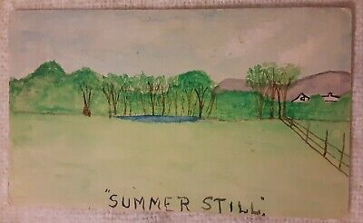 Vintage 1908 Hand Drawn Painted POSTAL CARD Postcard of Landscape Stuart IOWA 🌿