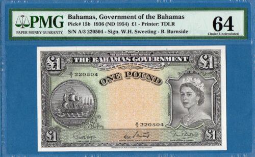 Bahamas, 1 Pound, 1936(1954), UNC-PMG64, P15b