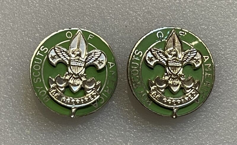 Vintage Pair of Scoutmaster Badge Collar Pins - BSA Boy Scout Scouts