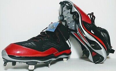 buy online 27f03 e6011 NEW Adidas Power Alley 4 Iron Skin Metal Baseball Cleats Red Black SZ 12  AQ8191