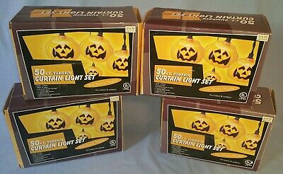 (4) Boxes Halloween Pumpkin Light Strings Blow Mold Head & Candle Indoor Outdoor