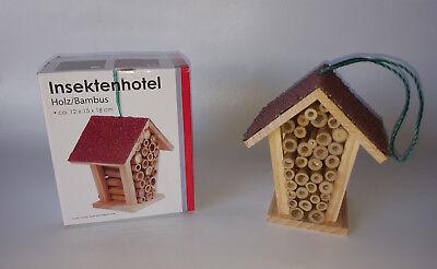 Insektenhotel Holz / Bambus Insktenhaus Rotes Dach 12 x 15 x 18 cm zum Hängen