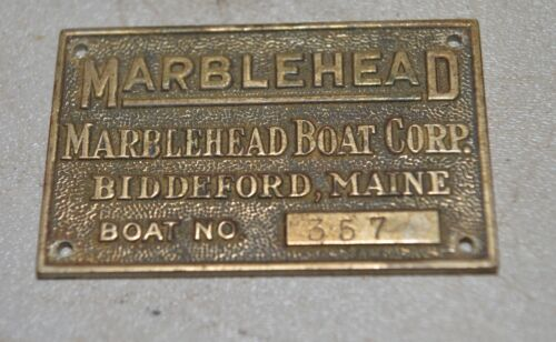 Rare Marblehead Boat Corp Biddeford Maine brass build plaque plate sign boating