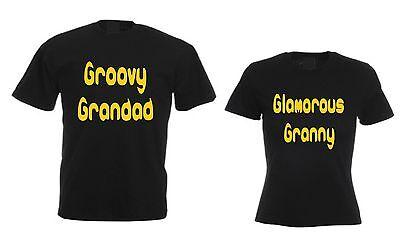 Grandparents T-Shirt Set Christmas Present For Groovy Grandad & Glamorous Granny ()
