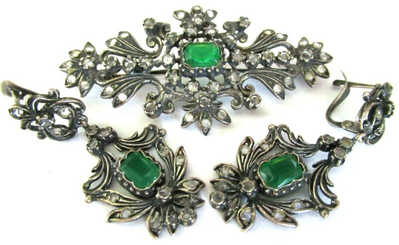 Vintage French Mine Cut White Sapphire High Quality Brooch Earring Set