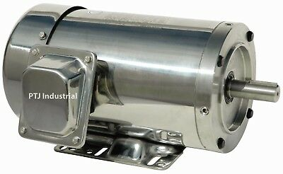 2 Hp Stainless Steel Electric Motor 145tc Washdown 3 Phase 3600 Rpm With Base