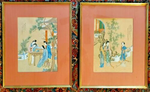 Pair of (2) Antique Chinese Paintings or Woodblock Prints Matted and Framed