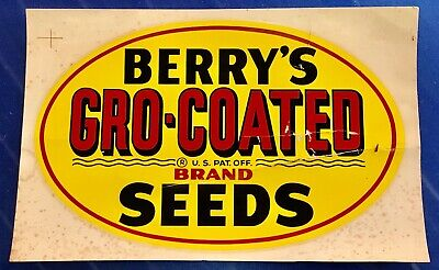 """Vintage Berry's Gro-Coated Seeds 8.5"""" Transfer Decal Sign Seed Corn Advertising"""
