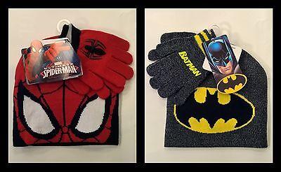 Kinder Winter-Set Spiderman Mütze Batman Finger-Handschuhe Wintermütze NEU ()