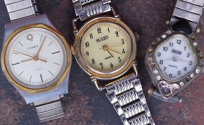 Lot of 3 Ladies 2000s Vintage Quartz Fashion Watches for Parts/Restoration/Art