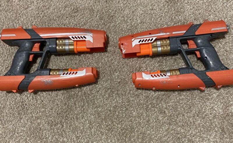 TWO (2) NERF Guardians of the Galaxy ~ Star-Lord Quad Blasters