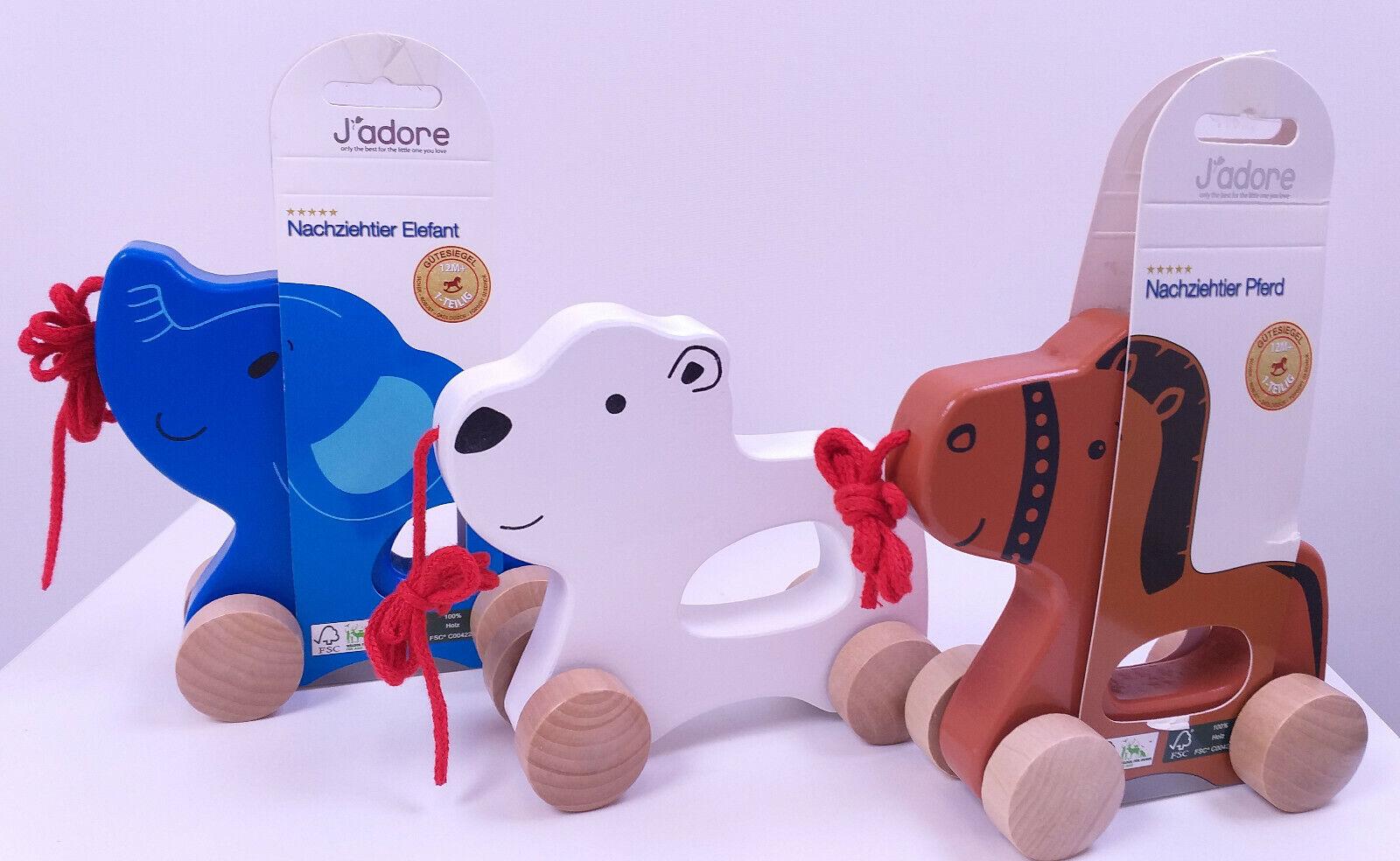 Nachziehtiere aus Holz (FSC) von J'adore. Pferd, Eisbär oder Elefant. 12+. Neu.
