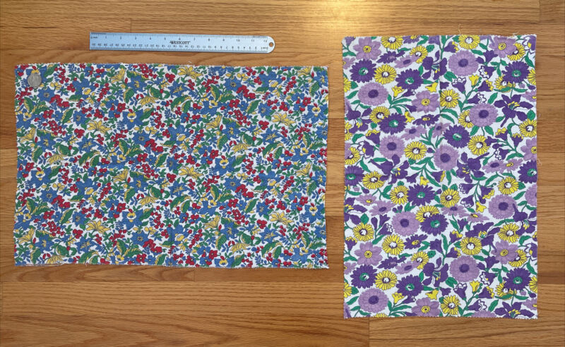 "2 Lovely Vintage 1940 Floral Cotton Feedsack Fabrics 13.5""x21.5"", 19""x13"""