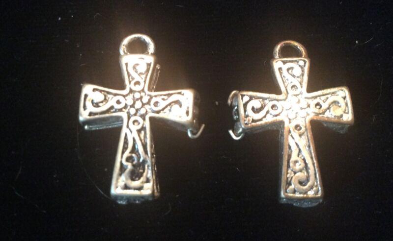 LOT OF 2 CROSS PRAYER BOX SILVERTONE CHARM LOCKET RELIGIOUS