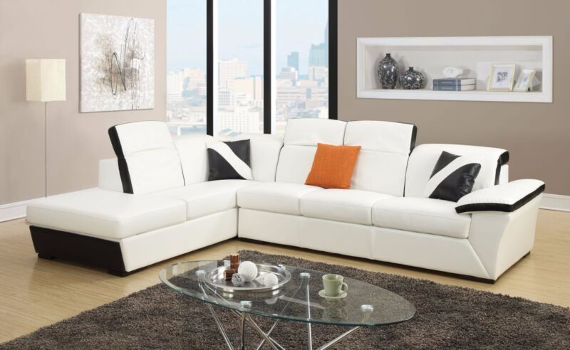 Sectional Sofa Storage Chaise Modern White Sofa Couch Adjustable Headrest New