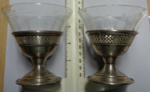 Pair of Sterling & Glass ICE CREAM Dishes Unpolished No Monogram (SEE NOTE)