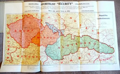 VINTAGE COLOR FOLDOUT MAP of REPUBLIC OF CZECHOSLOVAKIA