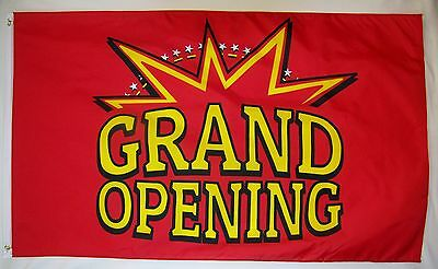 Grand Opening Star Burst Flag 3 X 5 Deluxe Indoor Outdoor Business Banner