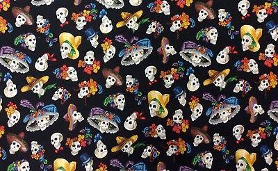 AH297 Catrina Dia de los Muertos Day of the Dead Skulls Cotton Quilt Fabric