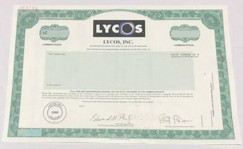 1998 LYCOS, Inc. Odd Shares Stock Certificate SPECIMEN