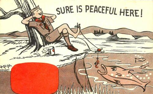 """VINTAGE BOY SCOUT COMIC POSTCARD, """"SURE IS PEACEFUL"""""""