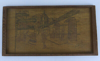 Vintage Redwood Serving Tray Wood Burned Mexican Fiesta Scene 14.5X8 SIGNED