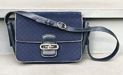 Vintage Gucci Shoulder Bag Made in Italy Classic Logo Canvas Navy Blue Purse Vtg