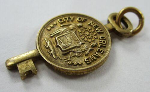 Vintage New Orleans Louisiana City Key Charm Pendant Souvenir Gold Tone Krower