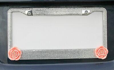 All Silver Peach Orange Flower Crystal Rhinestone License Plate Frame Car (Novelty Frames)