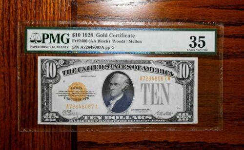 1928 $10 Gold Certificate 💲 PMG 35