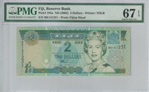 Fiji 2002 $2 PMG Certified Banknote UNC 67 EPQ Superb Gem 104a Queen Elizabeth