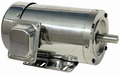 1 Hp Stainless Steel Electric Motor 56c 3600 Rpm 3 Phase Washdown With Base