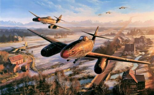 Return of the Hunters by Nicolas Trudgian autographed by Luftwaffe Jet Aces