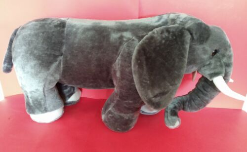 VERY LARGE Plush Grey Standing Elephant