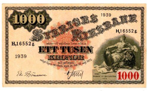Sweden ... P-38d ... 1000 Kronor ... 1939 ... *VF+*