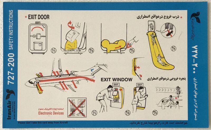 Safety Card- Iran Air Boeing 727-200 (very rare)