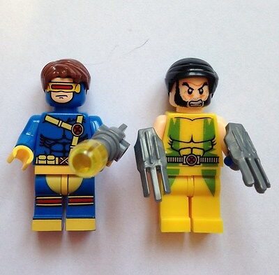 2 x Minifigures X-MEN MINIFIGURE SET - WOLVERINE & CYCLOPS  Fits Lego