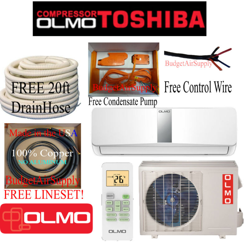 Olmo-toshiba(compressor)12k Btu Ductless15 Seer Mini Split  Heat Pump 115v