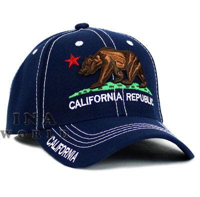 California Republic hat CA Classic Bear Logo Embroidered Baseball cap- Navy Blue