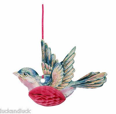 Honeycomb Paper Hanging Birds - Vintage Style Wedding Christening Decoration x 3