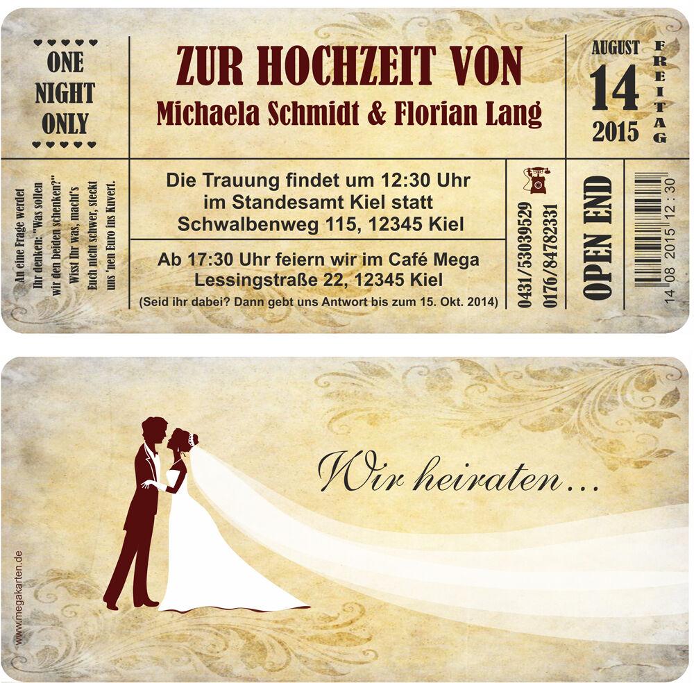 Hochzeitskarte, Einladungskarten Hochzeit Hochzeitskarten  Hochzeitseinladungen Edel Vintage ...
