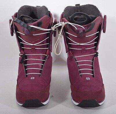 911205e70f4f 2015 WOMENS SALOMON KIANA SNOWBOARDING BOOTS  250 9.5 bordeaux red black  USED