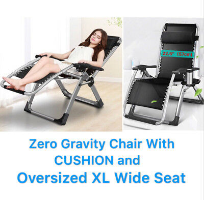 "FOUR SEASONS With CUSHION OVERSIZED XL Wide Seat ( 22.5"" ) Zero Gravity Chair"