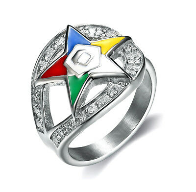 (Masonic rings ebay Order of the Eastern Star Ring Silver Color Loop CZ OES Rings)