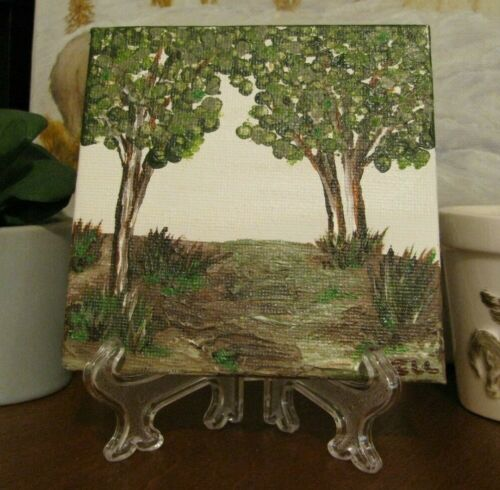 """Original, Hand Painted, Rest under Tree, Art Acrylic on Canvas 4""""x4"""" w/Stand"""
