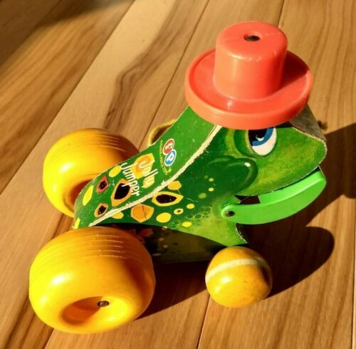 Vintage Fisher Price Wood Pull Toy Jolly Jumper Frog Works